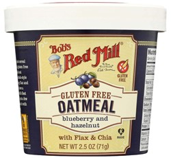 "Изображение Bob's Red Mill - Gluten Free Oatmeal Blueberry and Hazelnut овсянка без глютена в чашке ""Черника & Фундук"" 71 г"